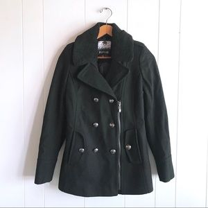 Kensie Black Zip Wool Faux Shearling Collar Coat